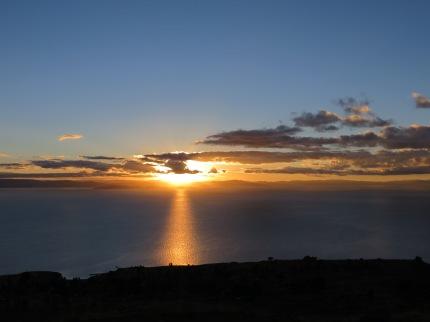 Sunrise over Lake Titicaca In Peru